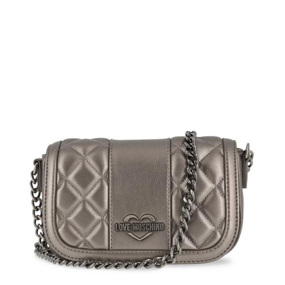 6fc42040fd1a0 Love Moschino Grey Leather Clutch Bag